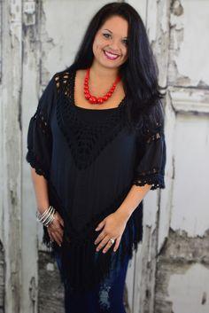 Black Sleeved Poncho