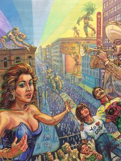 Wayne Alaniz Healy andDavid Botello, La Fiesta/Broadway, 1993, acrylic on canvas,66 x	54	inches. Courtesy of the Artists.