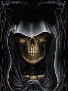KASZÁS ÉS KOPONYÁK - fantaziakepek.qwqw.hu Grim Reaper Art, Don't Fear The Reaper, Halloween Gif, Halloween Skull, Gas Mask Art, Munier, Ghost Rider Marvel, Reaper Tattoo, Creepy Tattoos