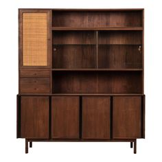 Mid Century Walnut Cabinet with Caned Door - Image 1 of 11