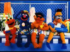 Elmo, Grover, Ernie & Bert hit the beach! Sesame Street Muppets, Sesame Street Characters, Bert & Ernie, Fraggle Rock, The Muppet Show, Kermit The Frog, Jim Henson, Poster Prints, Art Prints