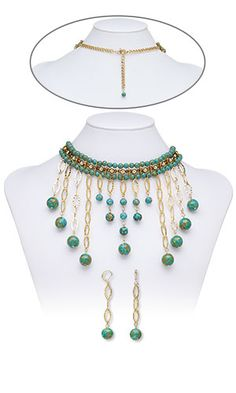 f3c349da340c Choker-Style Necklace and Earring Set with Mosaic