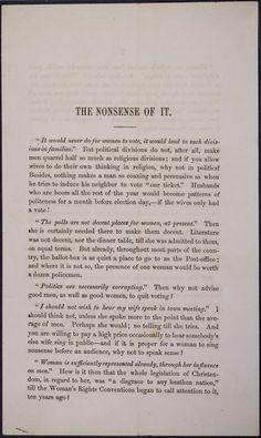 This pamphlet, entered in the Records of the House of Representatives in 1866, runs through often-heard objections to women's suffrage, striking down each. (pg 1)