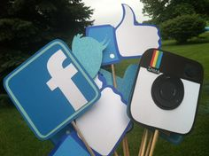 PHOTO BOOTH PROPS:  social media   facebook     instagram    and    twitter on Etsy, $27.00