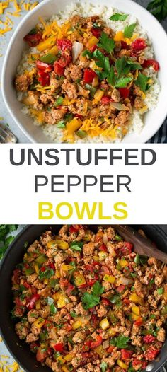 These Unstuffed Pepper Bowls are the BEST! They're layered with store-bought cauliflower rice (white or brown rice may be substituted), cheddar, and a seasoned ground turkey and bell pepper mixture. Healthy Turkey Recipes, Easy Dinner Recipes, Beef Recipes, Cooking Recipes, Best Ground Turkey Recipes, Ground Turkey And Peppers Recipe, Recipe With Bell Peppers, Soup Recipes, Healthy Brown Rice Recipes