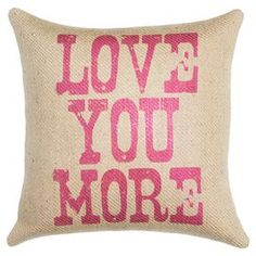 """Handmade burlap pillow with a typographic motif. Made in the USA.  Product: PillowConstruction Material: Burlap coverColor: Pink and beigeFeatures:  Handmade by TheWatsonShopZipper EnclosureMade in the USA Insert included Dimensions: 16"""" x 16"""""""