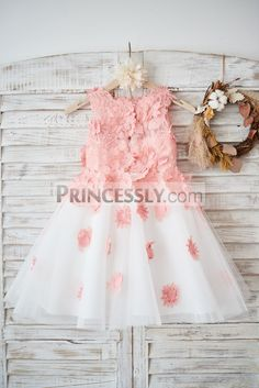 This dress is made of big patterned peach pink lace and ivory tulle Sheer lace neckline with straight lining Flowers on the bodice which extend below the Unique floral dress, perfect for romantic Custom color/custom size/custom design are welcome. Flower Girl Headpiece, Tulle Flower Girl, Tulle Flowers, Wedding Flower Girl Dresses, Headpiece Wedding, Cheap Wedding Flowers, Lace Wedding, Dream Wedding, Wedding Tips