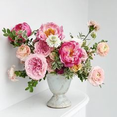 All of the pink - roses, peonies and ranunculus. Ranunculus, Peonies, Flower Model, Pink Roses, Floral Arrangements, Floral Design, Floral Wreath, Bloom, Wreaths