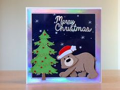 Christmas Card, Handmade - Marianne bear die.  For more of my cards please visit CraftyCardStudio on Etsy.com.
