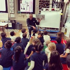 Pops reading #goodboyblue to 2009 @Butler University grad, Miss Arbuckle's class at Chicago's Mitchell Elementary School. #bigdawgstour