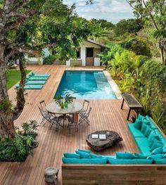 90 Small Backyard Swimming Pool Ideas and Design - backyard design Small Backyard Design, Backyard Pool Designs, Small Backyard Landscaping, Backyard Patio, Outdoor Pool, Landscaping Ideas, Pergola Ideas, Pool For Small Backyard, Small Patio