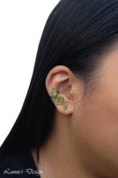Treble Clef Ear Cuff, Green Ear Cuff, Green Cuff Earrings, Music Ear Cuff, Free Shipping anywhere in the USA #green #earcuff #cuffearrings #earcuffs #earcuffs #earwrap #earjacket #earclimber #earjocket #earrings