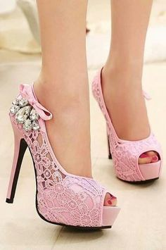 #HEELS #PINK #LACE