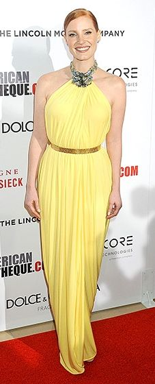 Jessica Chastain brightened up the red carpet in a lemon Givenchy Couture halter dress.