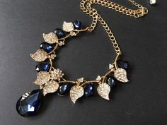 Excited to share this item from my shop: Romantic blue crystals necklace, wedding bridal necklace, wedding jewelry, bridal necklace, rhinestones necklace, prom, anniversary gift #wedding #victorian #classic #gold #blue #goldnecklace #weddingjewelry #jewelry Bridal Necklace, Rhinestone Necklace, Crystal Necklace, Crystal Rhinestone, Gold Necklace, Wedding Jewelry, Gift Wedding, Blue Crystals, Anniversary Gifts