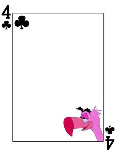 """Flamingo - 4 of Clubs - Alice in Wonderland  - Playing Card - Project Life Journal Card - Scrapbooking ~~~~~~~~~ Size: 3x4"""" @ 300 dpi. This card is **Personal use only - NOT for sale/resale** Logo/clipart belongs to Disney. Font is Card Characters http://haroldsfonts.com/portfolio/card-characters/ *** Click through to photobucket for more versions of this card ***"""
