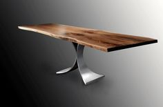 Steel Fountain Live Edge Dining Table in Brushed Finish with Book Matched Black Walnut Solid Wood Slab by Jeffrey Greene Live Edge Table, Live Edge Wood, Wood Slab Dining Table, Dining Tables, Studio Living, Wood And Metal, Solid Wood, Table Legs, Fountain