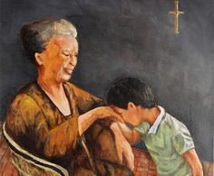 "The Pagmamano or Mano Po is a way of showing respect to your elders and involves the youngster placing his/her hand on the back of the elders hand. In a sense the elderly person is ""blessing"" the younger one. Filipino Art, Filipino Culture, Polynesian Culture, Filipino Food, Philippines Culture, Philippines Fashion, Showing Respect, Philippine Art, Filipiniana"