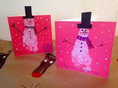 Footprint snowmen christmas cards