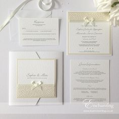 Pretty Ivory Wedding Invitations with Pebble Paper
