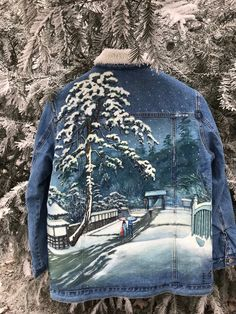 Hand-painted denim jacket Japanese,Kawase Hatsui,also available in sizes on order! by BallaElenaArt on Etsy Painted Denim Jacket, Recycled Fashion, Textiles, One Piece, Hand Painted, Japanese, Jackets, Etsy, Vintage