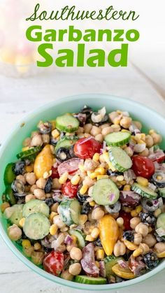 Southwestern Garbanzo Bean Salad by Binky's Culinary Carnival is an easy, nutritious side to add to your next summer BBQ! This tasty salad has a tasty lime and roasted garlic dressing with a fun kick from the chipotle. Load it up with fresh veggies and you have a colorful, delicious, and nutritious summer salad! Easy Summer Salads, Summer Bbq, Summer Food, Garbanzo Salad, Chickpea Salad, Garbanzo Bean Recipes, Chickpea Recipes, Simple Baked Beans Recipe, Chickpeas