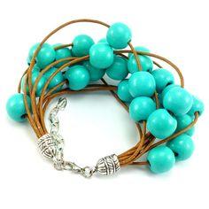 Bransoletka sznurek sznurkowa miętowa karmel drewniana Turquoise Bracelet, Lens, Metal, Bracelets, Jewelry, Fashion, Moda, Jewlery, Jewerly