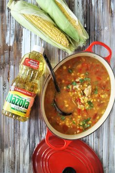Mexican Chicken Corn Chowder is a tasty spin on the classic corn chowder with lots of bold flavors! It's a family-friendly comfort food that's hearty, delicious, and so easy to prepare. Plus, this chowder is loaded with lean protein and heart healthy ingredients such as Mazola Corn Oil - definitely a win win! @MazolaBrand #ChooseMazola #ad