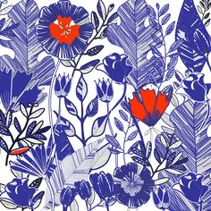 Line draw Blue flowers