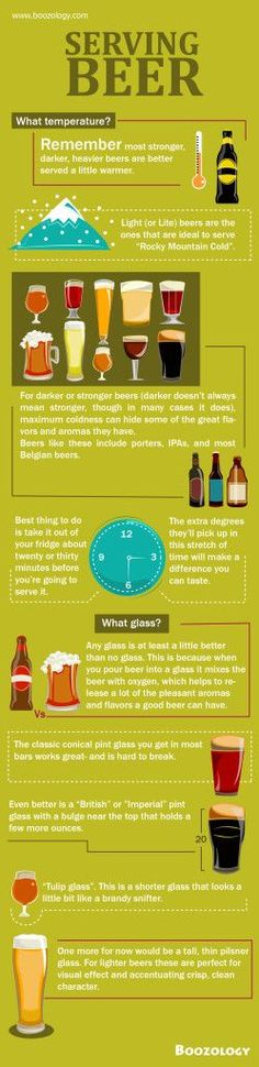 Infographic: Serving Beer Ready to drink or serve it. There are two things to consider: What temperature? What glass? More Beer, Wine And Beer, Beer Brewing, Home Brewing, Whisky, Gin, Vodka, Beer 101, Beer Snob