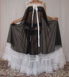 Vtg nylon lace lingerie nightgown babydoll full sweep negligee M-5X         #Unbranded #RobeGownSets