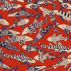Textures Patterns, Print Patterns, Pattern Illustration, Fish Illustration, Illustrations, Shark Party, Fish Print, Perfect Wallpaper, Fabric Painting