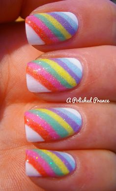 nice rainbow nails i'll have to try this as soon as i get some clear white sparkles. :)