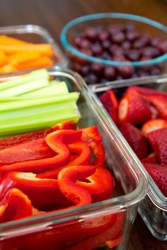 We tend to reach for chips and crackers because they're easy and right there. Make fresh fruits and veggies just as easily accessible by washing, cutting, and storing them in containers at eye-level in your fridge.