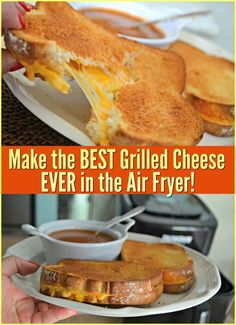 Try making a grilled cheese using the air fryer for an incredibly delicious crust with a satisfying gooey cheesy middle. Try making a grilled cheese using the air fryer for an incredibly delicious crust with a satisfying gooey cheesy middle. Air Fryer Recipes Breakfast, Air Fryer Dinner Recipes, Air Fryer Oven Recipes, Air Fryer Recipes Grilled Cheese, Grilled Cheeses, Air Fryer Recipes Potatoes, Perfect Grilled Cheese, Cooks Air Fryer, Sauce Pizza