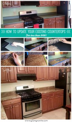 Kitchen makeover on a budget. How to update your existing countertops for under… Kitchen On A Budget, Kitchen Redo, Kitchen Design, Kitchen Makeovers, Kitchen Ideas, Home Improvement Projects, Home Projects, Home Renovation, Home Remodeling
