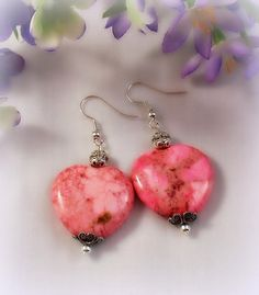 Pink Magnesite Heart Earrings with by RoseCottageVintage on Etsy, $9.99