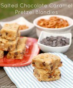 Salted Chocolate Caramel Pretzel Blondies Recipe l www.a-kitichen-addiction.com