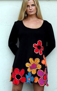 RESERVED FOR TIINA floral appliqued sweater tunic