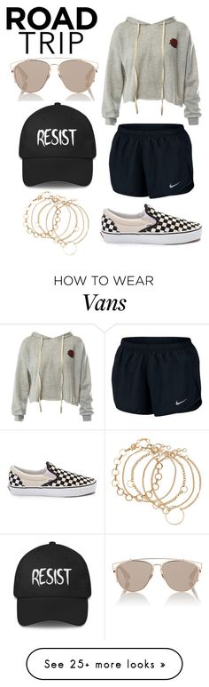"""Road Trip #7"" by styleislife12 on Polyvore featuring Sans Souci, NIKE, Vans, Christian Dior and roadtrip"