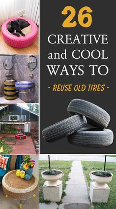 26 Creative and Cool Ways To Reuse Old Tires - 26 examples how to recycle tires and transform them into useful and decorative objects for your hom - Diy Upcycling, Diy Recycle, Tire Craft, Tire Garden, Tire Pond, Garden Pond, Reuse Old Tires, Used Tires, Outdoor Crafts