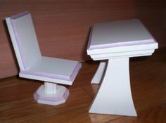 Handmade Doll Desk And Chair For 18 Inch Doll White With Purple Trim Doll School…
