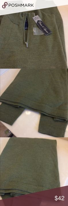 ❌2 hr flash-NWT- mens pullover sweater 100%fine merino wool- comfortable lighter weight-- long sleeve - straight bottom- 1/2 zip placket - loden green. Unused gift. Size L Sweaters Zip Up