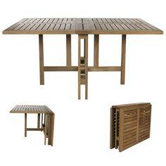 Table pliante en teck Gateleg Folding Table Diy, Diy Table, Wood Table, Dining Table, Minimal Traditional, Table Teck, Garden Furniture, Outdoor Furniture, Tiny House