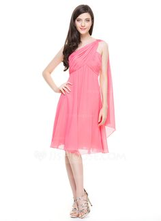 A-Line/Princess One-Shoulder Knee-Length Ruffle Zipper Up at Side Regular Straps Sleeveless No Other Colors Spring Summer Fall Winter General Plus Chiffon Bridesmaid Dress