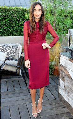 Ashley Madekwe from The Best of the Red Carpet  The former Revenge star's bordeaux Cushine Et Ochs long-sleeved midi (worn at a dinner party hosted by the label) is getting us seriously excited for fall fashion.