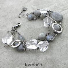 kryształ górski, labradoryt, rzemienie Biżuteria Bransolety formood