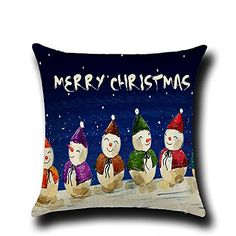 FXTXYMX Christmas Snow Pillow covers Linen Decorative Cushion Covers for Indoor Home Bedroom 1 Blue Snow Man >>> For more information, visit image link.