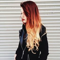 Beautiful Red to Blonde Ombre Hairstyle