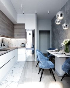 marble blue small kitchen ideas condo russian home interior design style white a. - marble blue small kitchen ideas condo russian home interior design style white and wood cabinets gl - Condo Kitchen, Kitchen Room Design, Kitchen Cabinet Colors, Modern Kitchen Design, Home Decor Kitchen, Interior Design Living Room, Home Kitchens, Kitchen Ideas, Kitchen Soffit